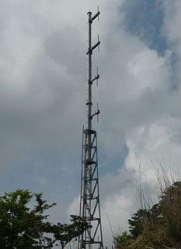 Array of 4 dipoles at a radio station to transmit radio/TV